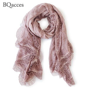 New fashion women solid color cotton linen scarves with lace lady spring autumn thin silk scarf shawl wrap hijab high quality - thegsnd