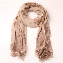 Load image into Gallery viewer, New fashion women solid color cotton linen scarves with lace lady spring autumn thin silk scarf shawl wrap hijab high quality - thegsnd