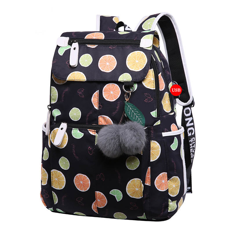 New middle school backpack with USB charging port school bags for girls travel