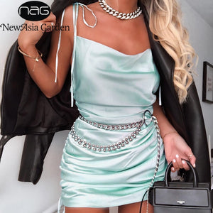 NewAsia Summer Dress 2019 Women Cowl Neck Backless Sexy Party Dress Sides Lace Up Can Adjust Length Drawstring Ruched Dress Mini - thegsnd