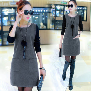 Newly Women Fake Two Pieces Dress Pullover Round Neck Long Sleeves Autumn Outfits m99 - thegsnd