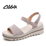 O16U 2018 Summer Sandals Shoes Women Suede Leather Platform Sandals Shoes Peep Toe Beach sandals Thick Sole Black Shoes Female - thegsnd