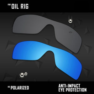 OOWLIT 2 Pieces Polarized Sunglasses Replacement Lenses for Oakley Oil Rig-Black and Ice Blue - thegsnd