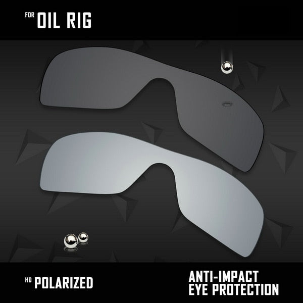 OOWLIT 2 Pieces Polarized Sunglasses Replacement Lenses for Oakley Oil Rig-Black and Sliver - thegsnd