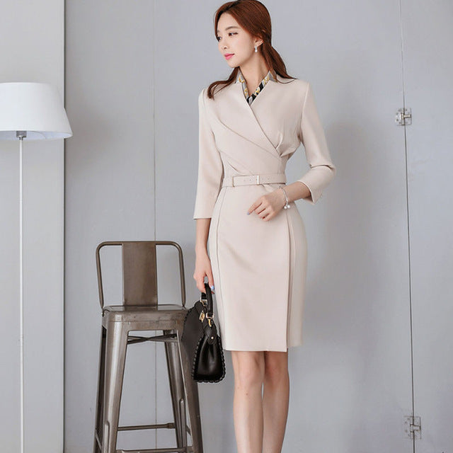 Office Ladies V-neck Pencil Dress Work Business Mid-length Women Dress Femme Sashes Slim Waist Vestidos 2018 Autumn - thegsnd