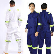 One-piece Long Sleeve Safety Coveralls 100% Cotton Reflective Work Clothes Anti Static Clothes For Auto Repair Grid Coal Miner - thegsnd