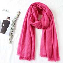 Load image into Gallery viewer, One piece high quality women muslim plain frayed scarf hijab shawls wraps headwear crinkle solid oversize pashmina hijabs-Women - Accessories - Scarves-thegsnd