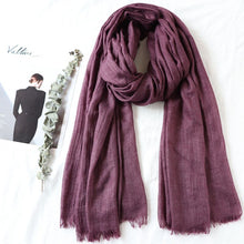 Load image into Gallery viewer, One piece high quality women muslim plain frayed scarf hijab shawls wraps headwear crinkle solid oversize pashmina hijabs - thegsnd