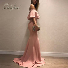 Load image into Gallery viewer, Ordifree 2019 Summer Women Long Party Dress Pink Off Shoulder Sexy Bodycon Ruffle Maxi Dress - thegsnd