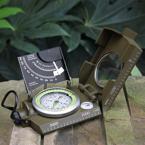 Outdoor Pocket Sighting Compass Metal Clinometer Army Green Hiking Camping Tool - thegsnd