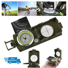 Load image into Gallery viewer, Outdoor Pocket Sighting Compass Metal Clinometer Army Green Hiking Camping Tool - thegsnd