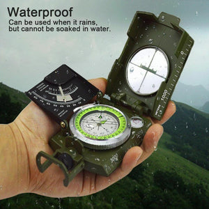 Outdoor Pocket Sighting Compass Metal Clinometer Hiking Camping Tool Army Green - thegsnd