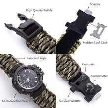 Load image into Gallery viewer, Outdoor Survival Watch Multifunctional Waterproof Military Tactical Paracord Watch Bracelet Camping Hiking Emergency Gear EDC - thegsnd