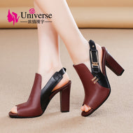 Patchwork Genuine Leather Woman Casual Sandals Universe Black Wine Red 9cm 3.53