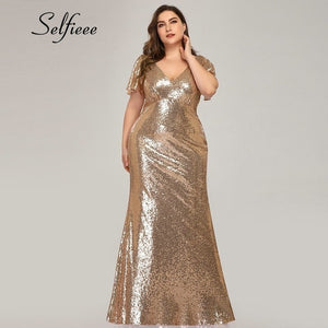 Plus Size Rose Gold Mermaid Women Dresses Short Sleeve Sequined V-Neck Bodycon Elegant Maxi Dresses For Party Robe Femme 2019 - thegsnd