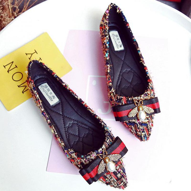 Black Women Shoes Ballet Flat Shoes Lace Rhinestone Flat Loafer Casual Shoes