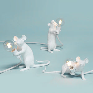 Postmodern  Resin Animal Rat Mouse Table Lamp Small Mini Mouse Cute LED Night Lights Home Decor Desk Lights Bedside Lamp - thegsnd