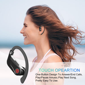 Powerhbq Pro Tws Bluetooth 5 0 Wireless Earphones 6d Stereo Sports Ear Hook H