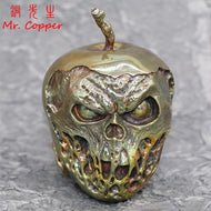 Pure Copper Punk Skull Head Poison Apple Shape Statue 9.5cm Height Brass Sculpture Car Ornament Decoration Halloween Gift Craft - thegsnd