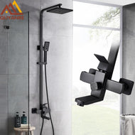 Quyanre Matte Black Bathroom Shower Faucet Set Wall Mount Rainfall Shower Mixer Tap Bathtub Shower Mixer Tap 3-way Shower Mixer-Shower Set-thegsnd