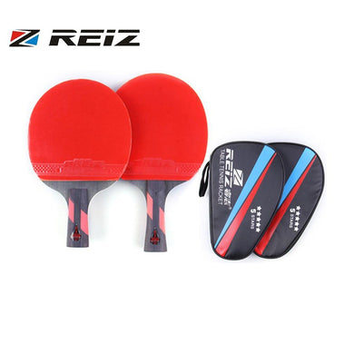 REIZ 5 Stars Table Tennis Racket Short Or Long Handle Shake-hand Ping Pong Paddle Match Training Racket With Case Hot - thegsnd