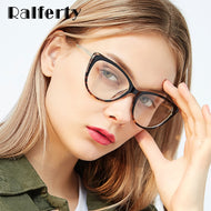 Ralferty Luxury Ladies Cat Eye Glasses Frame Women Crystal Decorated Metal Temple Eyeglasses Retro Optic Myopia Frames F97313 - thegsnd