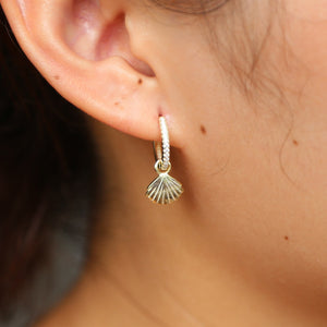 Real 925 sterling silver Women Simple gold color delicate cute shiny Shell Drop dangle earrings cute girls Elegant party jewelry - thegsnd