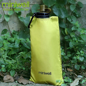 Reusable survival water purification system with foldable bottle outdoor fishing hunting camping equipment - thegsnd