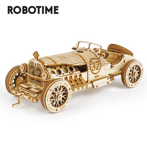 Robotime 1:16 220pcs Classic DIY Movable 3D Grand Prix Car Wooden Puzzle Game Assembly Toy Gift for Children Teens Adult MC401-Wooden Toy-thegsnd-thegsnd