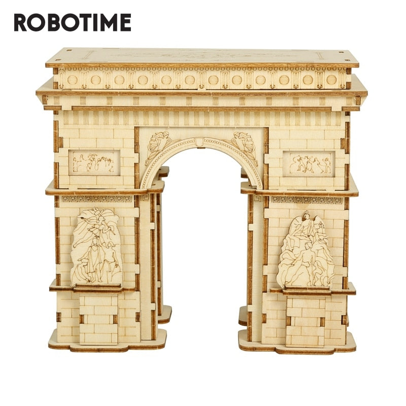 Robotime 118pcs DIY 3D Arc de Triomphe Wooden Puzzle Game Popular Toy Gift for Children Teen Adult TG502-Wooden Toy-thegsnd-China-thegsnd