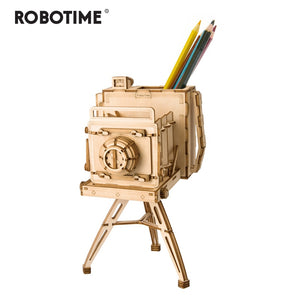 Robotime DIY 3D Wooden Vintage Camera Puzzle Game Penholder&Gift for Children Kid Friend Popular Toy TG403-Wooden Toy-thegsnd-Vintage Camera-China-thegsnd