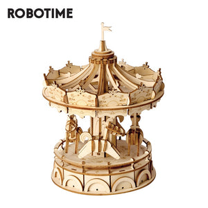 Robotime DIY Merry Go Round Toys 3D Wooden Puzzle Toy Assembly Model Wood Craft Kits Desk Decoration for Children Kids TG404-Wooden Toy-thegsnd-China-thegsnd
