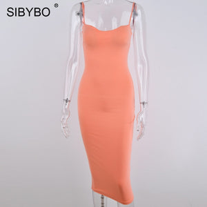 SIBYBO Double Layers Cotton Sexy Bodycon Dress Women Autumn Backless Slim Elastic Push Up Bandage Party Dresses Vestidos-Women's Clothing-thegsnd