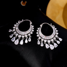 Load image into Gallery viewer, SINZRY NEW cubic zircon elegant party bridal waterdrop tassel dangle earrings dazzling wedding jewelry accessory - thegsnd
