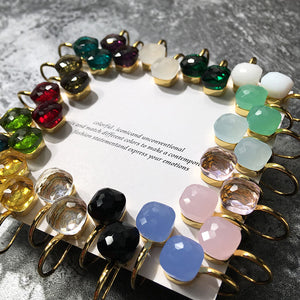 SLJELY Luxury Brand Colorful Candy Earrings 3 Gold Color Classic 23 Colors Faceted Crystal Square Drop Earrings Women Jewelry - thegsnd