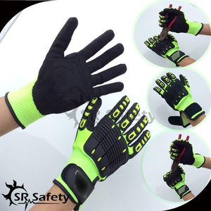 SRSafety 6 Pairs Anti Vibration Working Gloves Vibration and Shock Gloves Anti Impact Mechanics WorkGloves,Cut Level 5 - thegsnd