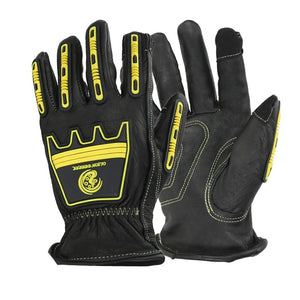 Safety Anti Impact Gloves Leather Heavy Duty Durable Black Cowhide Touch Screen Working Glove - thegsnd