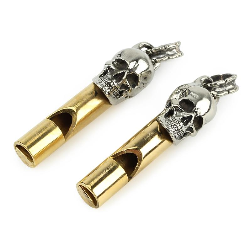 Skull Design White Copper Whistle Survival Whistle for Outdoor Sports Camping Hunting Traveling - thegsnd