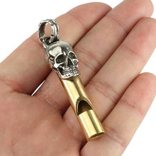 Load image into Gallery viewer, Skull Design White Copper Whistle Survival Whistle for Outdoor Sports Camping Hunting Traveling - thegsnd