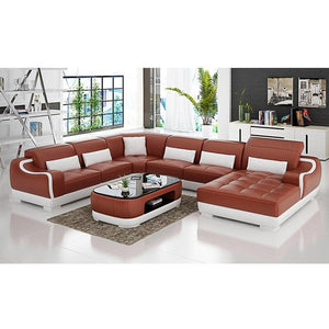 Sofas For Living Room Sofa Bed Genuine 7 Seater L Shape Leather Sofa With TV Stand - thegsnd