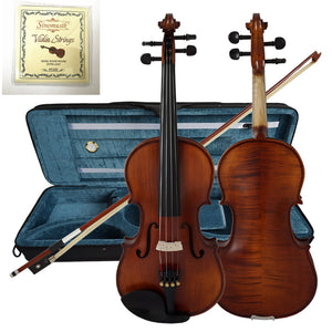 Solid Carved Spruce Top Flame Maple handmade Professional Violin With Oblong Case and Bow - thegsnd