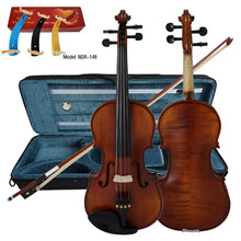Load image into Gallery viewer, Solid Carved Spruce Top Flame Maple handmade Professional Violin With Oblong Case and Bow - thegsnd