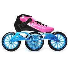 Load image into Gallery viewer, Speed Inline Skates Carbon Fiber Competition Roller Skate 3*125mm Wheels Street Racing Train Skating Patines for Kids Adult SH56-Gaming Zone-thegsnd-Pink Blue-44-thegsnd