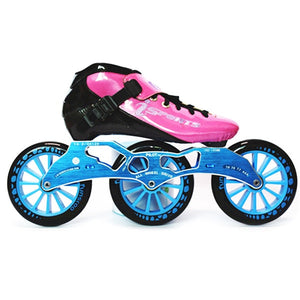 Speed Inline Skates Carbon Fiber Competition Roller Skate 3*125mm Wheels Street Racing Train Skating Patines for Kids Adult SH56-Gaming Zone-thegsnd-Pink Blue-44-thegsnd