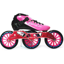 Load image into Gallery viewer, Speed Inline Skates Carbon Fiber Competition Roller Skate 3*125mm Wheels Street Racing Train Skating Patines for Kids Adult SH56-Gaming Zone-thegsnd-Pink Red-43-thegsnd