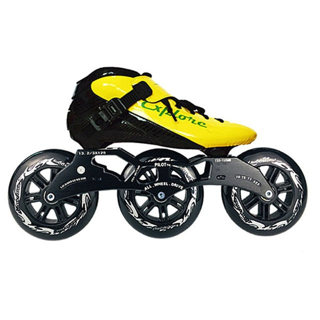 Speed Inline Skates Carbon Fiber Competition Roller Skate 3*125mm Wheels Street Racing Train Skating Patines for Kids Adult SH56-Gaming Zone-thegsnd-Yellow Black-39-thegsnd