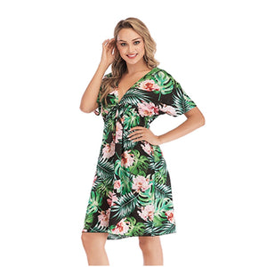 Spring/summer 2019 new printed chiffon loose ladies beach dress - thegsnd