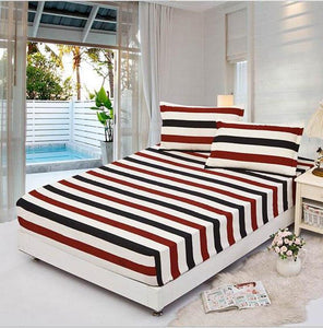 Stripes, flowers, grid twin full queen size 1pcs bed Sheet fitted sheet, bedsheet bedding,bed linen,bed mattress cover bedding-Fitted Bedsheet-thegsnd
