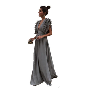 Summer Dress	2018 New Fashion Women Dress Sexy Gray V Neck Backless Butterfly Sleeve Maxi Dress Beach Party Long Dresses Vestido-Women's Clothing-thegsnd