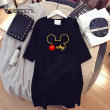 Load image into Gallery viewer, Summer Fashion Women Dresses Minnie Mickey Mous Cartoon Print Clothes Loose Women Clothing Big Size Cute Mini Dress Black - thegsnd